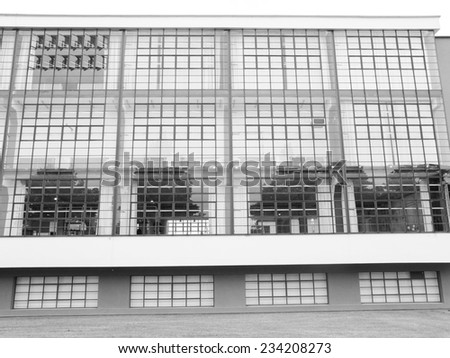 DESSAU, GERMANY - JUNE 13, 2014: The Bauhaus art school iconic building designed by architect Walter Gropius in 1925 is a listed masterpiece of modern architecture - stock photo