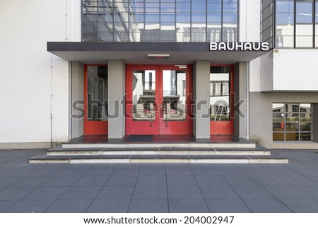 DESSAU, GERMANY - MARCH 12, 2014: The Staatliches Bauhaus, former home of the design school that founded modernism, in Dessau, Germany on March 12, 2014. - stock photo