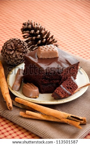 Dessert, a piece of chocolate cake. - stock photo