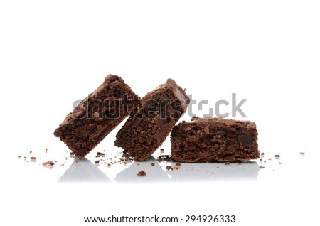 dessert brownies isolated on white background - stock photo