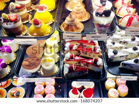 Dessert case. - stock photo