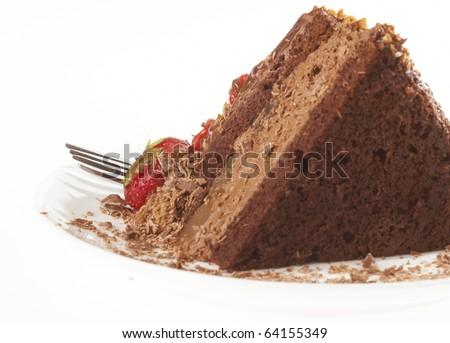 Dessert - Chocolate Cake with Fresh Strawberry - stock photo