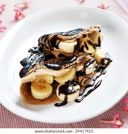 Dessert crepes - stock photo