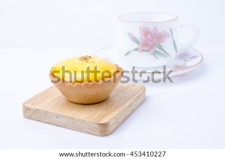 dessert egg tart sweet custard pie and tea set isolated on white background - stock photo