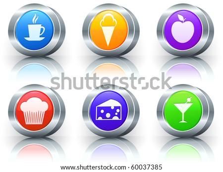 Dessert Icons on Reflective Button with Metallic Rim Collection Original Illustration - stock photo