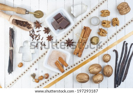 dessert ingredients and equipments on white wooden table  - stock photo