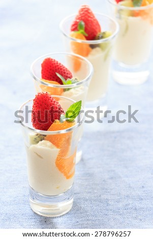 Dessert made by fruits and Tofu - stock photo