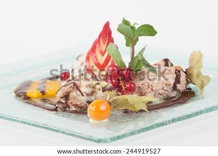Dessert plate - pudding ice cream - stock photo