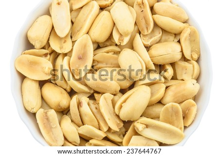 Dessert : salted peanuts isolated on white background - stock photo
