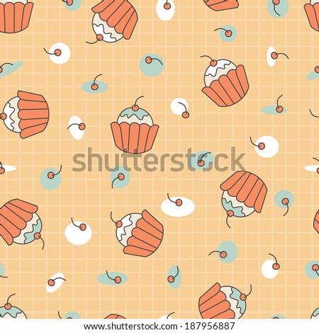 Dessert. Seamless cupcakes with cherries pattern.  - stock photo
