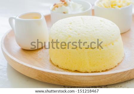 Dessert set with orange jam , wip cream , and cheese - stock photo