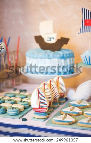 Dessert table in marina style - stock photo