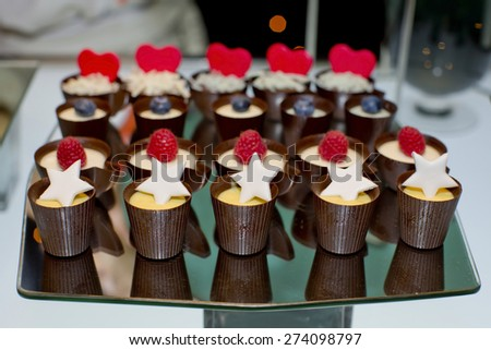 Dessert with Chocolate covered and sugar topping - stock photo