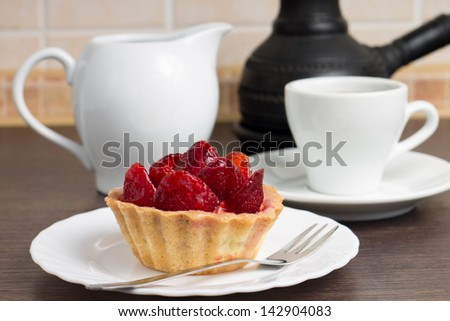 Dessert with coffee for a Breakfast - stock photo
