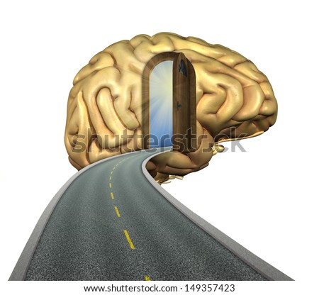 Destination mind: road to the brain - 3d renders and digital painting. - stock photo