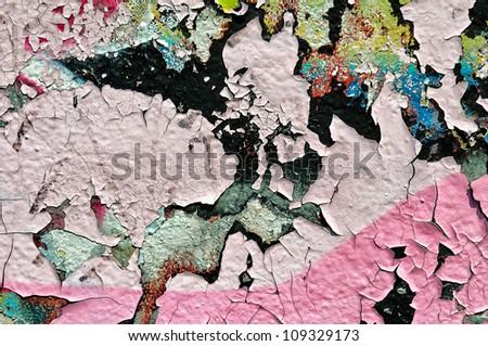 Destorey old artistic wall - stock photo