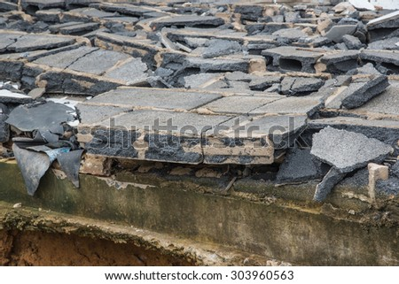 Destroyed building from demolition or earthquake. - stock photo