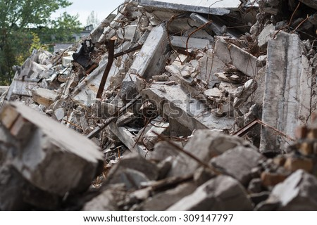Destroyed building - rubble, industrial background - stock photo
