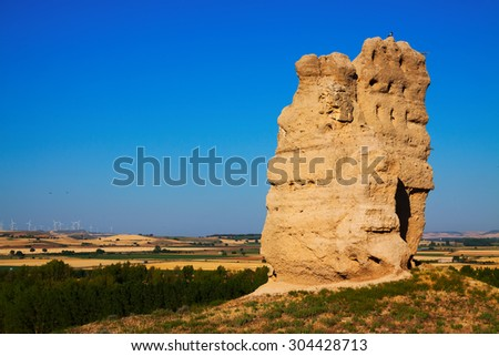 destroyed clay castle of Palenzuela. Castile and Leon, Spain - stock photo