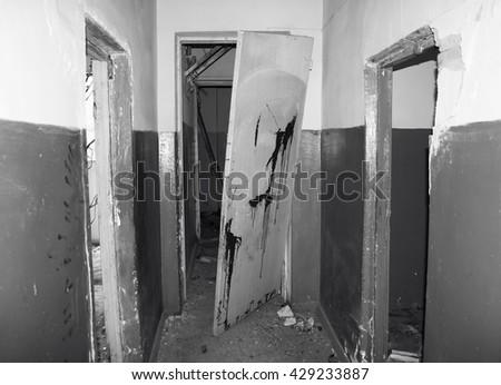 Destroyed house scene - stock photo