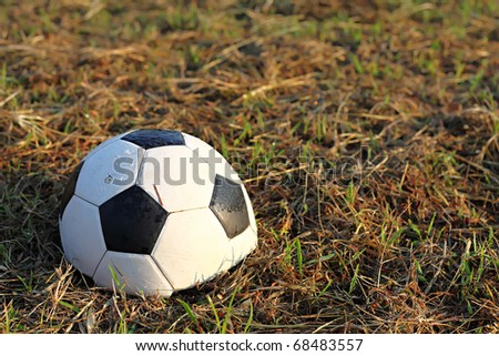Destroyed in Half Soccer Ball - stock photo