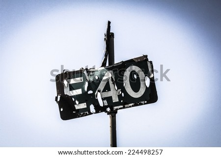 Destroyed road signs - stock photo