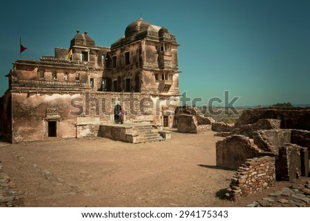 Destroyed structure of historical Hindu temple in Chitaurgarh Fort, an UNESCO World Heritage Site, India - stock photo