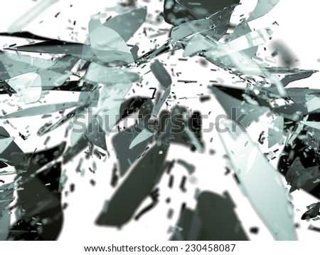 Destructed glass pieces isolated on white shallow DOF. Large resolution - stock photo