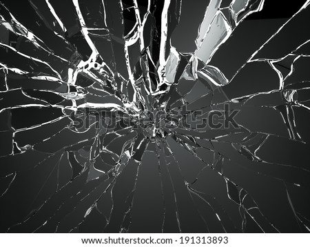 Destructed or Shattered black glass isolated over white - stock photo
