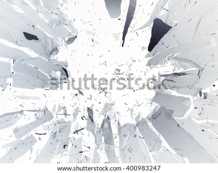 Destructed or shattered glass isolated over white background - stock photo