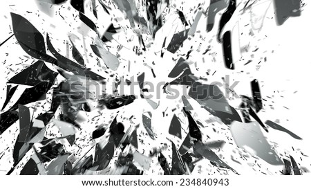 Destructed or Shattered glass on white with motion blur. Large resolution - stock photo