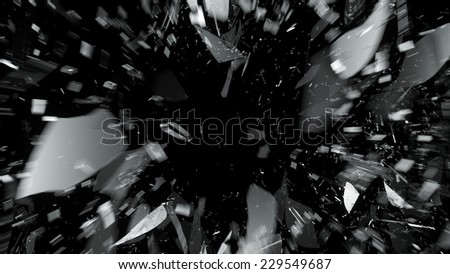 Destructed or Shattered glass with motion blur on black. Large resolution - stock photo