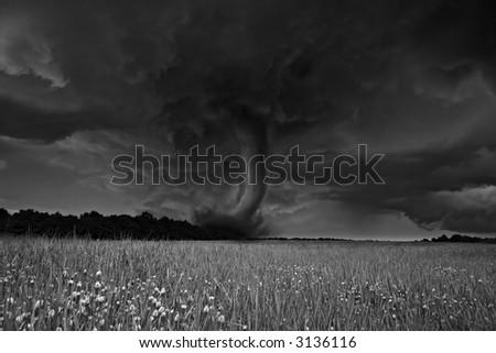 Destruction force of tornado - stock photo