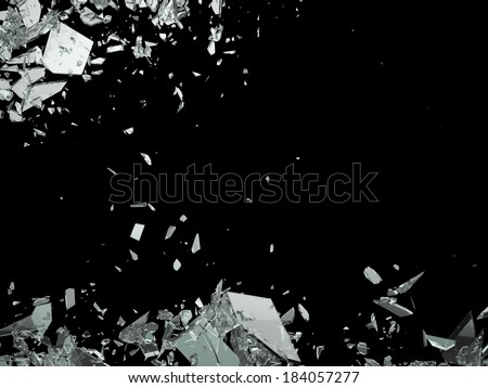 Destruction Shattered or demolished glass on black - stock photo