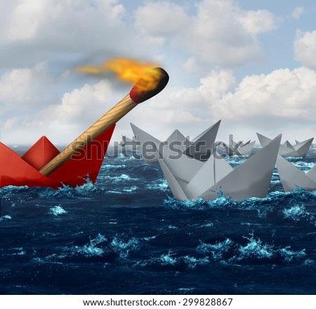 Destructive business and disruptive technology and innovation concept as a group of paper boats in the ocean with one individual red boat carrying a match on fire headed towards the competition. - stock photo