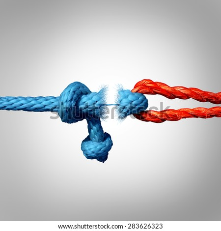 Detached concept and disconnected symbol as two different ropes tied and linked together as a breaking chain and losing trust or faith metaphor as separation and divorce or broken relationship. - stock photo