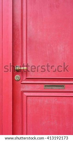 Detail antique chinese red door - stock photo