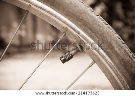 Detail bicycle wheel. Vintage style - stock photo