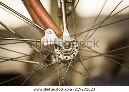 Detail bicycle wheel. Vintage style. - stock photo