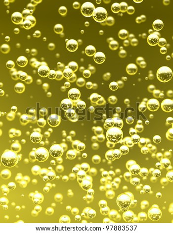 Detail bubbles in yellow liquid. - stock photo
