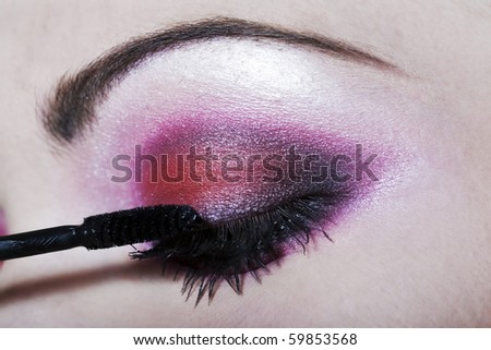 detail close-up make-up beauty eyebrow colorful - stock photo