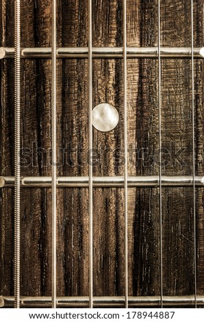 Detail close-up view of guitar strings and frets in vintage style - stock photo