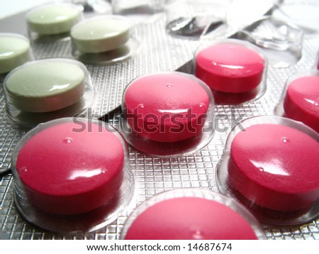 Detail drug pills, white and pink pills - stock photo