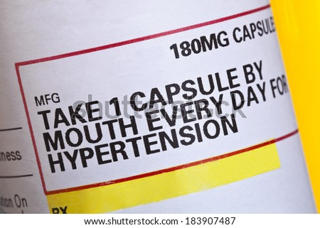 Detail from a label on a prescription medication for high blood pressure. - stock photo