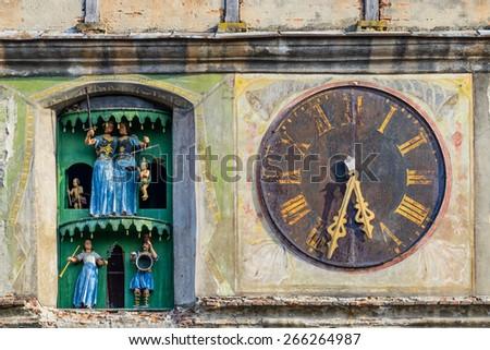 detail from clock tower in sighisoara, transylvania, romania - stock photo