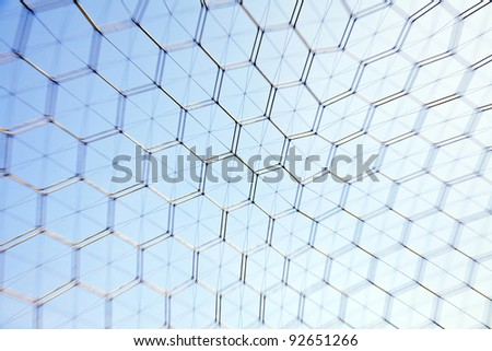 Detail from geodesic dome at American Society of Materials International headquarters, Near Cleveland, Ohio, USA. Lens Zoom/Blur during capture for dynamic effect. - stock photo