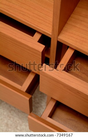 detail from some open drawers - stock photo