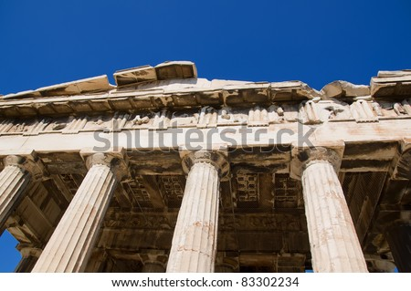 detail from the ancient temple of Hephaestus in Ancient Agora of Athens - stock photo