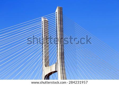 Detail from the Vasco da Gama Bridge in Lisbon Portugal - stock photo