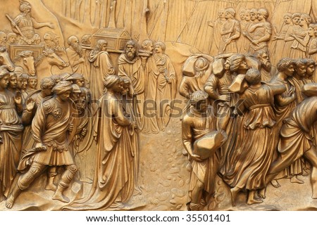 Detail, Gates of Paradise, Baptistery of San Giovanni, Florence, Italy - stock photo